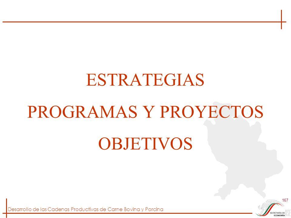 Desarrollo de las Cadenas Productivas de Carne Bovina y Porcina 167 ESTRATEGIAS PROGRAMAS Y PROYECTOS OBJETIVOS