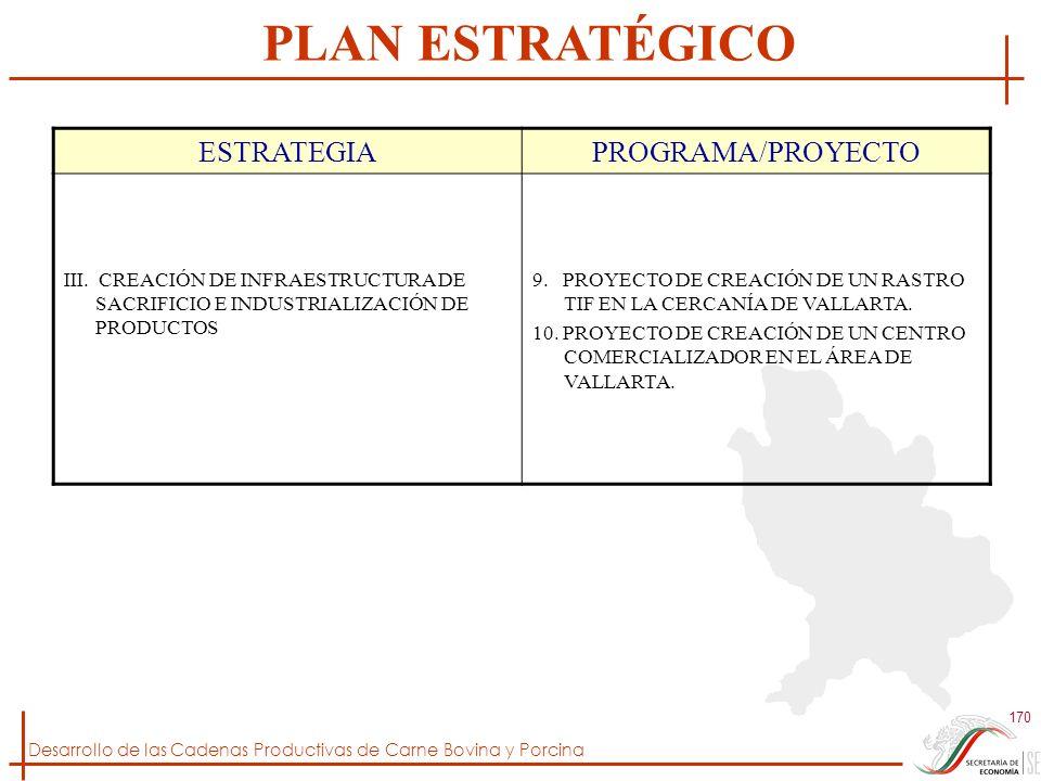 Desarrollo de las Cadenas Productivas de Carne Bovina y Porcina 170 ESTRATEGIAPROGRAMA/PROYECTO III. CREACIÓN DE INFRAESTRUCTURA DE SACRIFICIO E INDUS
