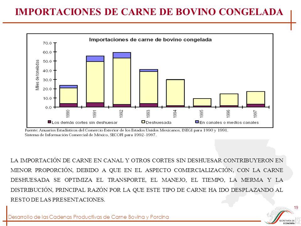 Desarrollo de las Cadenas Productivas de Carne Bovina y Porcina 19 IMPORTACIONES DE CARNE DE BOVINO CONGELADA LA IMPORTACIÓN DE CARNE EN CANAL Y OTROS
