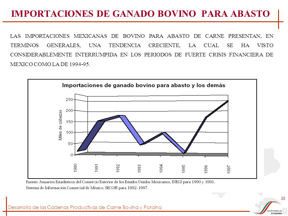 Desarrollo de las Cadenas Productivas de Carne Bovina y Porcina 20 IMPORTACIONES DE GANADO BOVINO PARA ABASTO LAS IMPORTACIONES MEXICANAS DE BOVINO PA