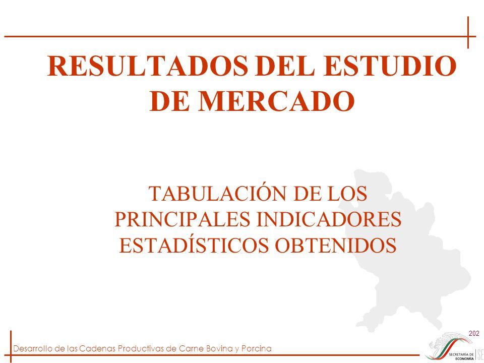 Desarrollo de las Cadenas Productivas de Carne Bovina y Porcina 202 RESULTADOS DEL ESTUDIO DE MERCADO TABULACIÓN DE LOS PRINCIPALES INDICADORES ESTADÍ