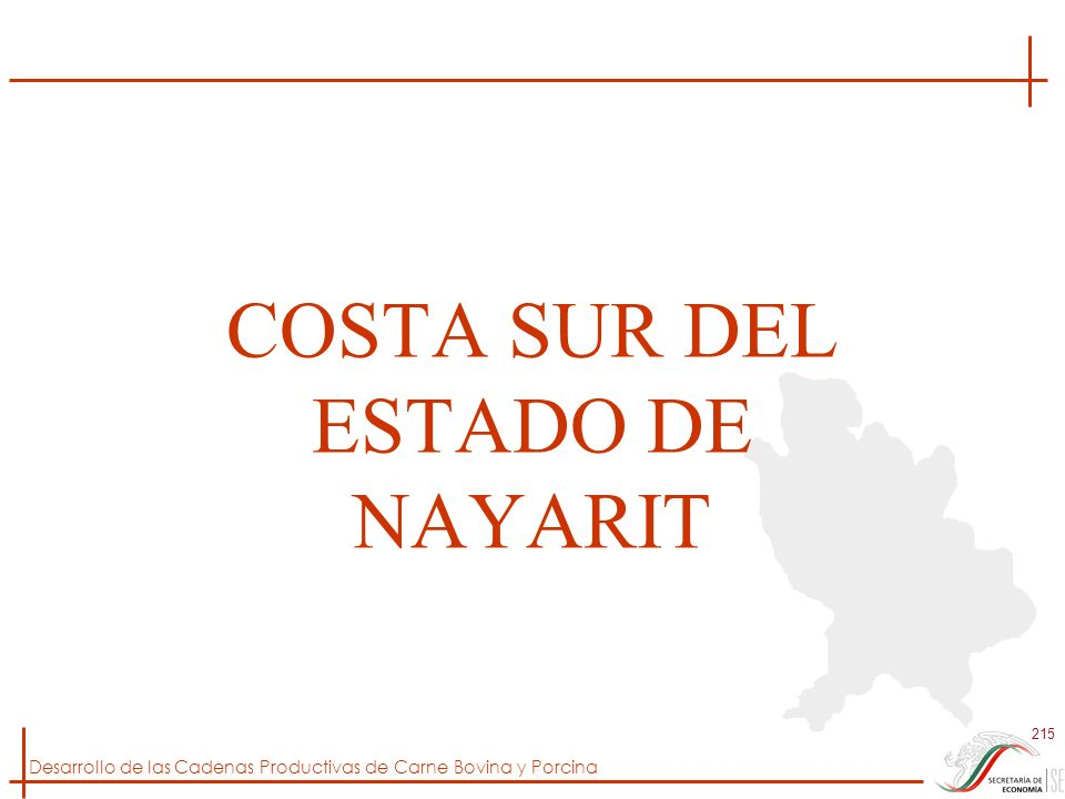 Desarrollo de las Cadenas Productivas de Carne Bovina y Porcina 215 COSTA SUR DEL ESTADO DE NAYARIT