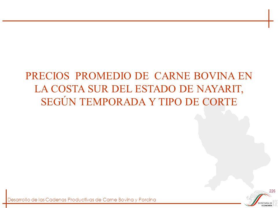 Desarrollo de las Cadenas Productivas de Carne Bovina y Porcina 226 PRECIOS PROMEDIO DE CARNE BOVINA EN LA COSTA SUR DEL ESTADO DE NAYARIT, SEGÚN TEMP