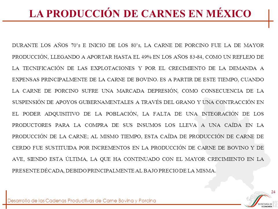 Desarrollo de las Cadenas Productivas de Carne Bovina y Porcina 24 DURANTE LOS AÑOS 70s E INICIO DE LOS 80s, LA CARNE DE PORCINO FUE LA DE MAYOR PRODU