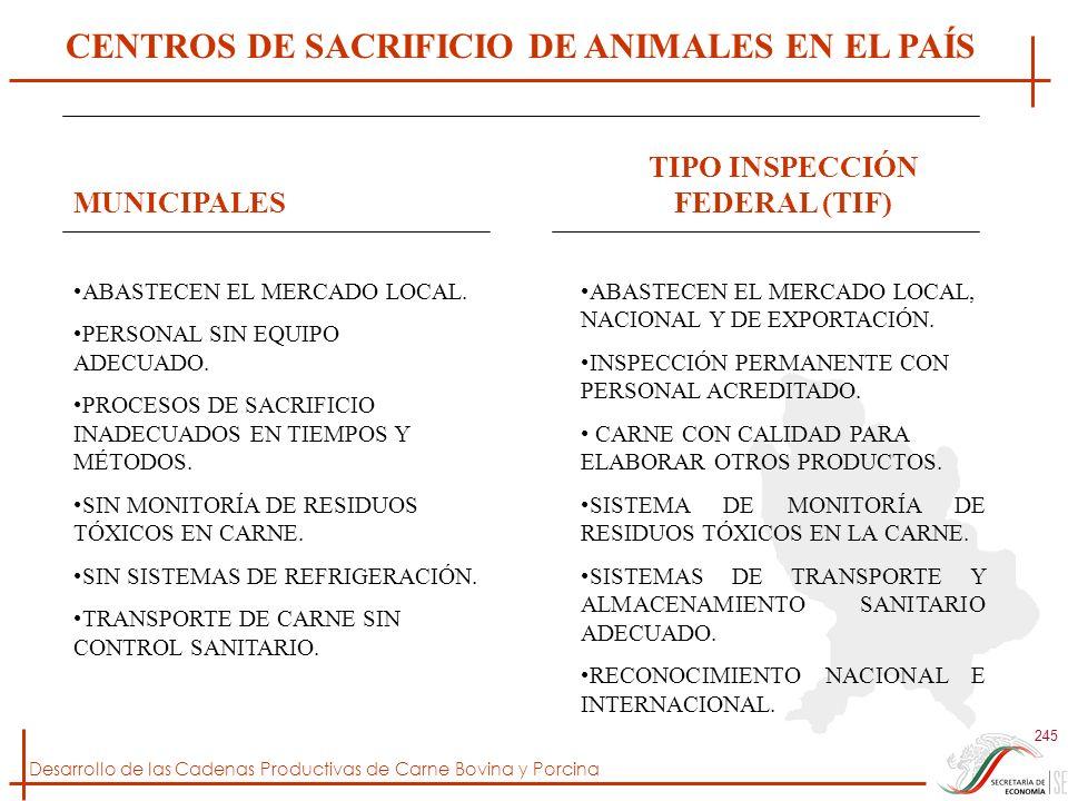 Desarrollo de las Cadenas Productivas de Carne Bovina y Porcina 245 CENTROS DE SACRIFICIO DE ANIMALES EN EL PAÍS MUNICIPALES ABASTECEN EL MERCADO LOCA