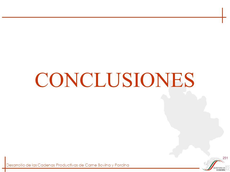 Desarrollo de las Cadenas Productivas de Carne Bovina y Porcina 251 CONCLUSIONES