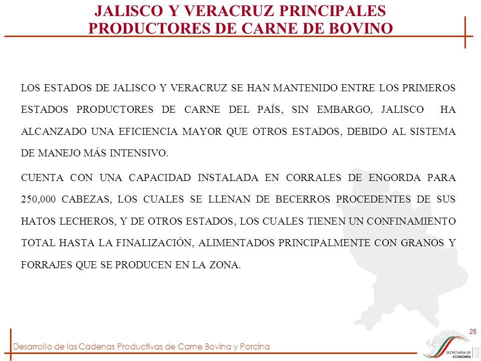 Desarrollo de las Cadenas Productivas de Carne Bovina y Porcina 28 JALISCO Y VERACRUZ PRINCIPALES PRODUCTORES DE CARNE DE BOVINO LOS ESTADOS DE JALISC