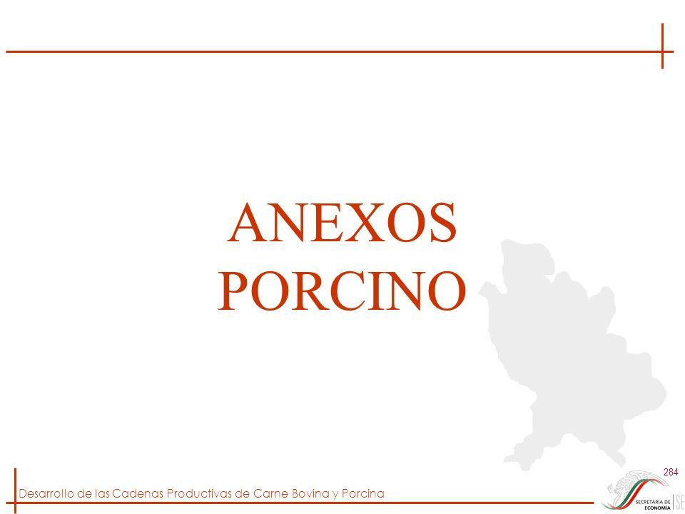 Desarrollo de las Cadenas Productivas de Carne Bovina y Porcina 284 ANEXOS PORCINO