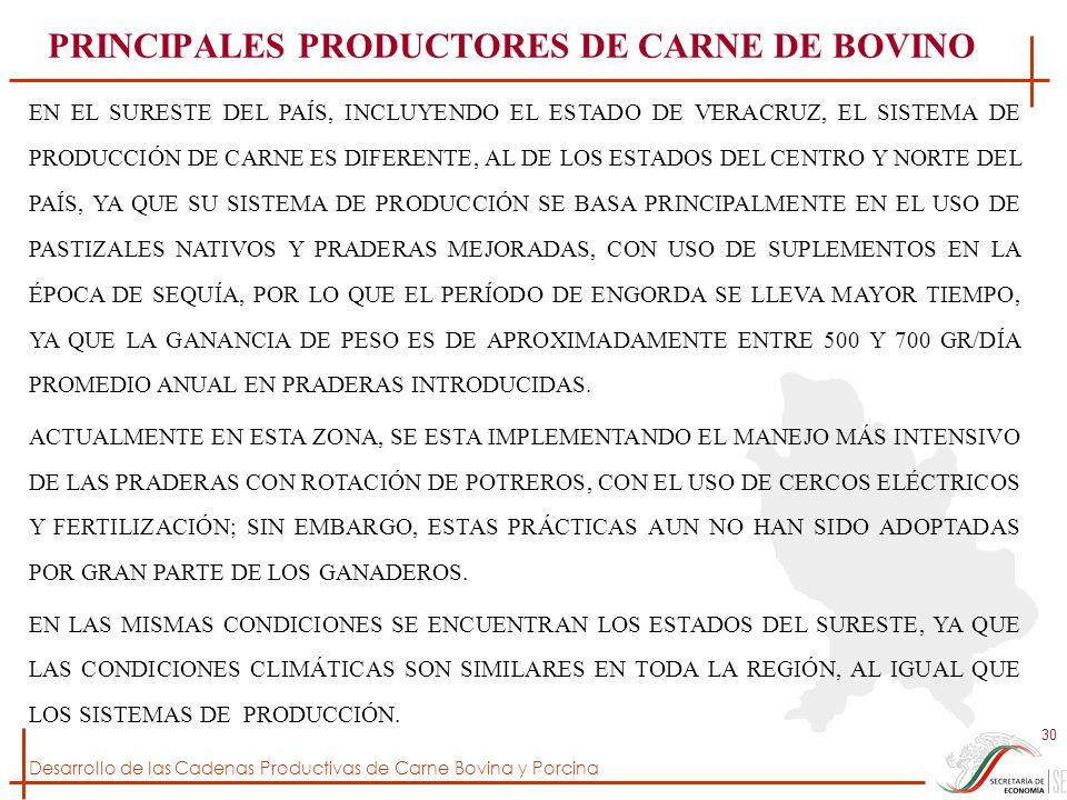 Desarrollo de las Cadenas Productivas de Carne Bovina y Porcina 30 EN EL SURESTE DEL PAÍS, INCLUYENDO EL ESTADO DE VERACRUZ, EL SISTEMA DE PRODUCCIÓN