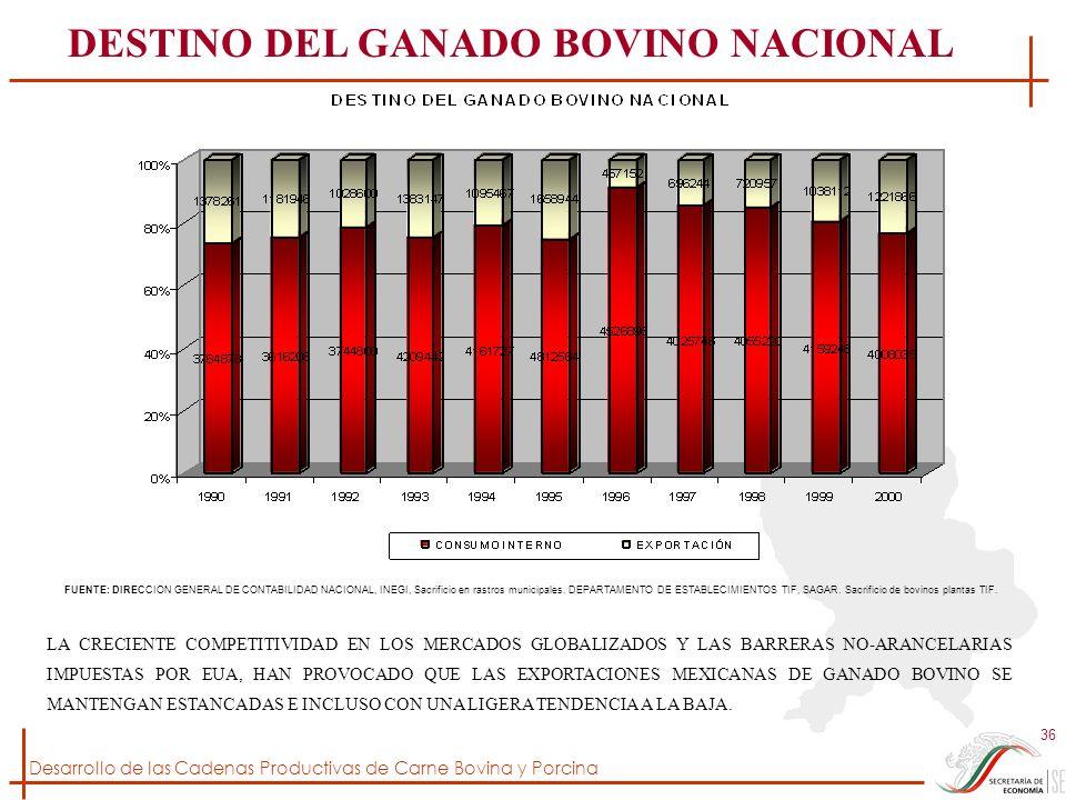 Desarrollo de las Cadenas Productivas de Carne Bovina y Porcina 36 FUENTE: DIRECCION GENERAL DE CONTABILIDAD NACIONAL, INEGI, Sacrificio en rastros mu