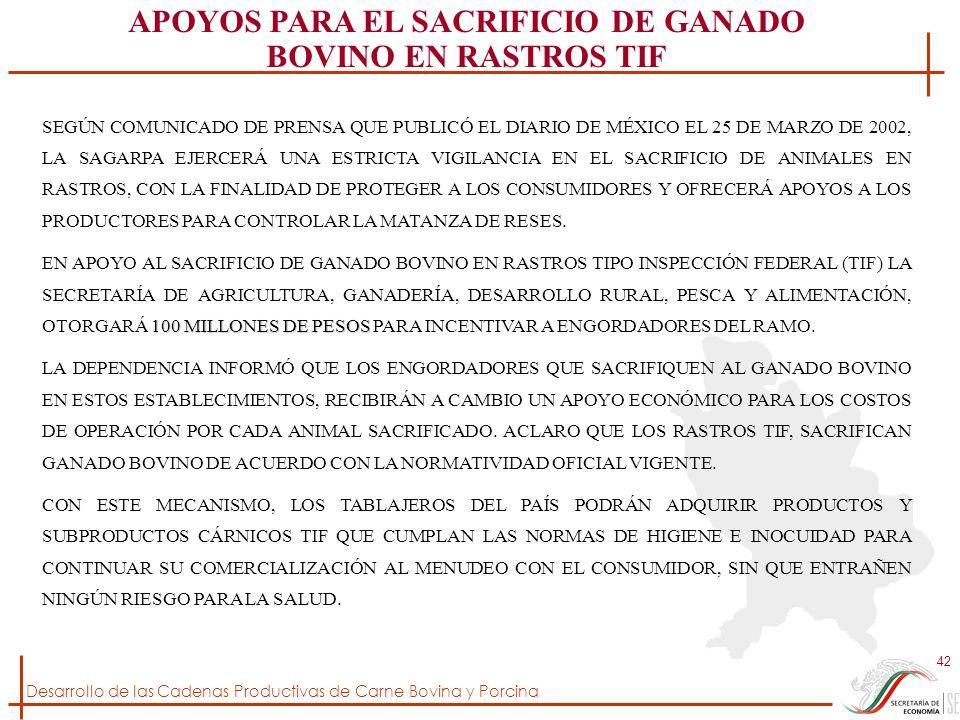 Desarrollo de las Cadenas Productivas de Carne Bovina y Porcina 42 SEGÚN COMUNICADO DE PRENSA QUE PUBLICÓ EL DIARIO DE MÉXICO EL 25 DE MARZO DE 2002,