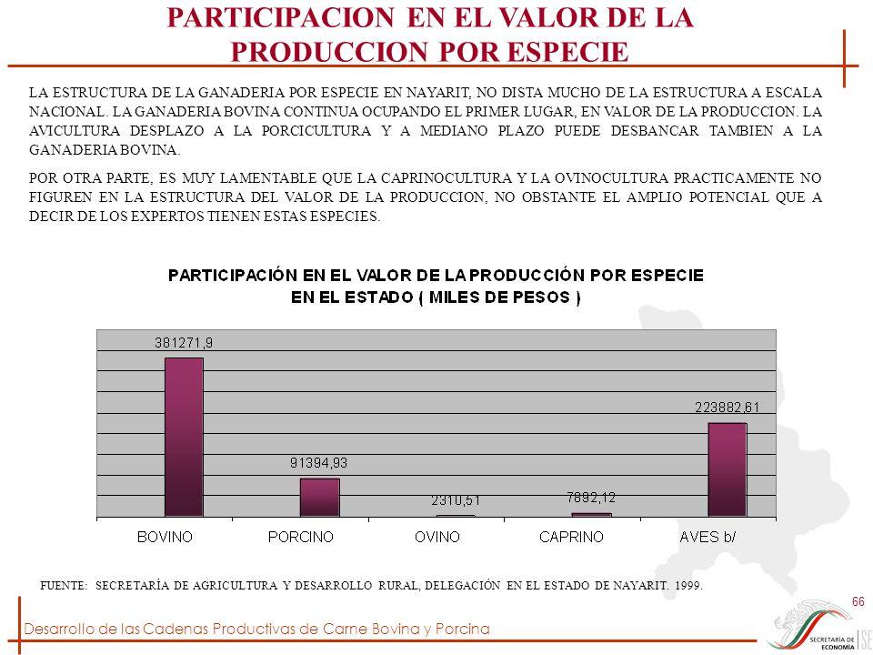 Desarrollo de las Cadenas Productivas de Carne Bovina y Porcina 66 FUENTE: SECRETARÍA DE AGRICULTURA Y DESARROLLO RURAL, DELEGACIÓN EN EL ESTADO DE NA