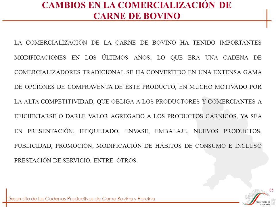 Desarrollo de las Cadenas Productivas de Carne Bovina y Porcina 85 LA COMERCIALIZACIÓN DE LA CARNE DE BOVINO HA TENIDO IMPORTANTES MODIFICACIONES EN L