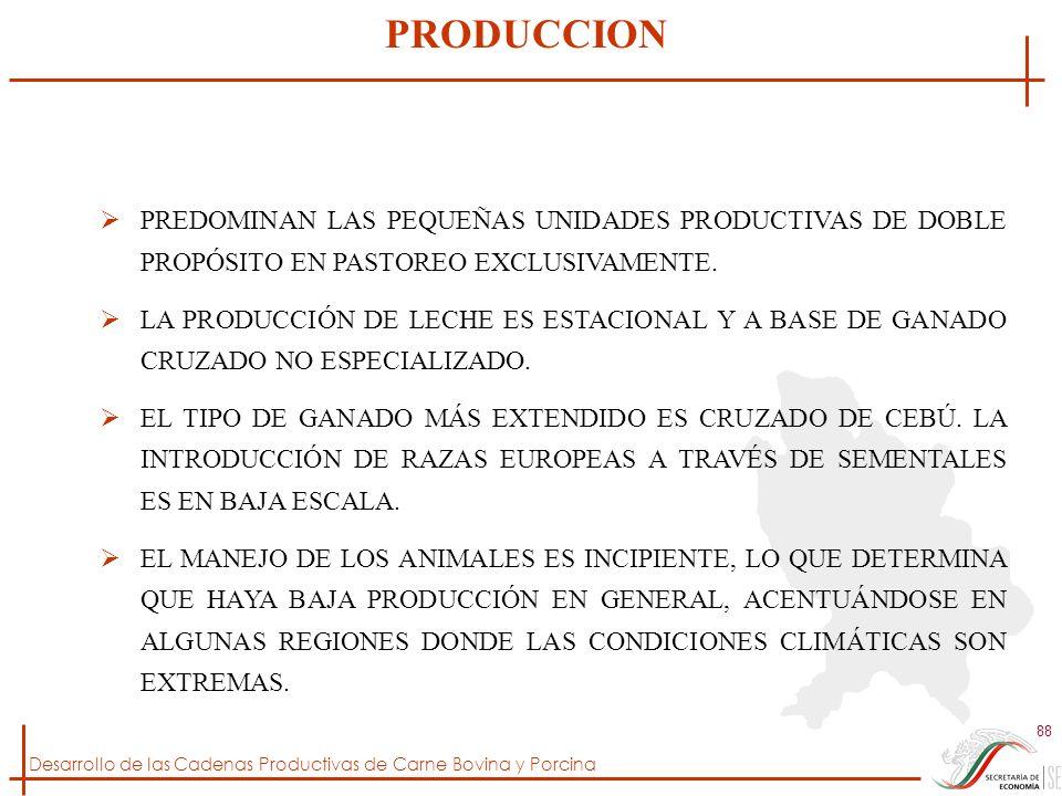 Desarrollo de las Cadenas Productivas de Carne Bovina y Porcina 88 PREDOMINAN LAS PEQUEÑAS UNIDADES PRODUCTIVAS DE DOBLE PROPÓSITO EN PASTOREO EXCLUSI