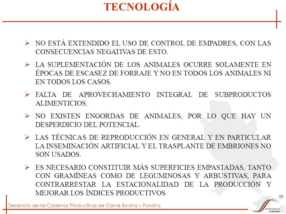 Desarrollo de las Cadenas Productivas de Carne Bovina y Porcina 89 NO ESTÁ EXTENDIDO EL USO DE CONTROL DE EMPADRES, CON LAS CONSECUENCIAS NEGATIVAS DE