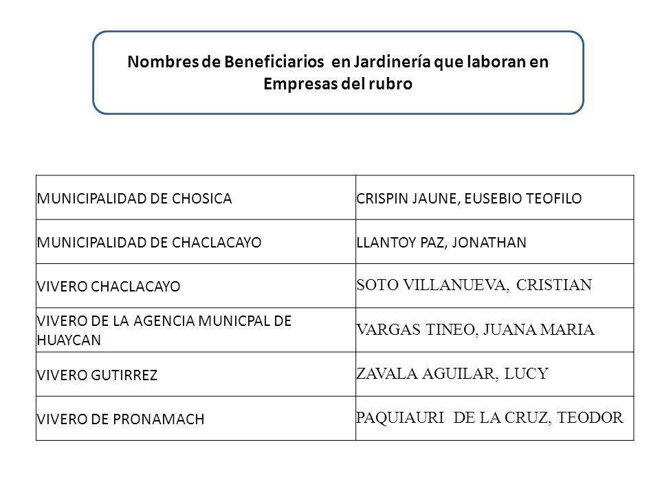 MUNICIPALIDAD DE CHOSICACRISPIN JAUNE, EUSEBIO TEOFILO MUNICIPALIDAD DE CHACLACAYOLLANTOY PAZ, JONATHAN VIVERO CHACLACAYO SOTO VILLANUEVA, CRISTIAN VIVERO DE LA AGENCIA MUNICPAL DE HUAYCAN VARGAS TINEO, JUANA MARIA VIVERO GUTIRREZ ZAVALA AGUILAR, LUCY VIVERO DE PRONAMACH PAQUIAURI DE LA CRUZ, TEODOR Nombres de Beneficiarios en Jardinería que laboran en Empresas del rubro