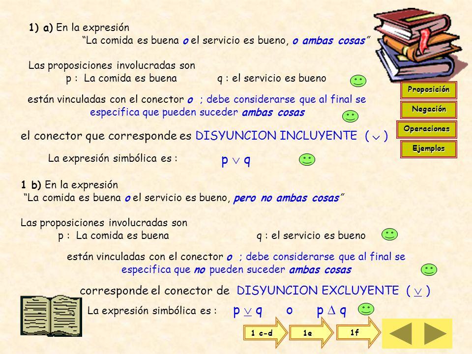 Dadas las proposiciones : P : El jueves es el examen q : El viernes viajo Podemos escribir las proposiciones compuestas : p q El jueves es el examen o
