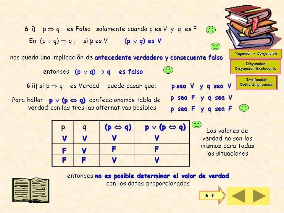 Para saber el valor de verdad de 5 ii) Para saber el valor de verdad de (p q) ( p q) cuando q es V Otra forma de resolverlo es usando tablas de verdad