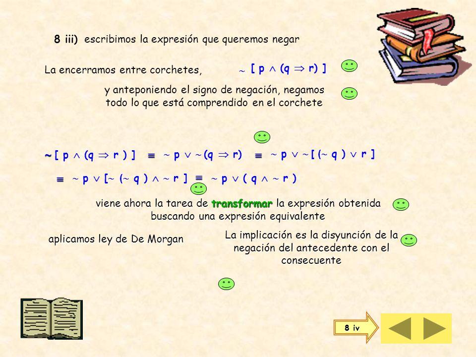 8) Para negar cualquier expresión, escribimos la expresión que queremos negar 8 i) La encerramos entre paréntesis, q r y anteponiendo el signo de nega