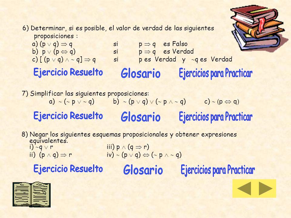 3) Construir las tablas de verdad de los siguientes esquemas proposicionales: a) (p q) p c) (q p) ( p q) e) (p q) ( r) b) p (p q) d) (r r) 4) Los valo