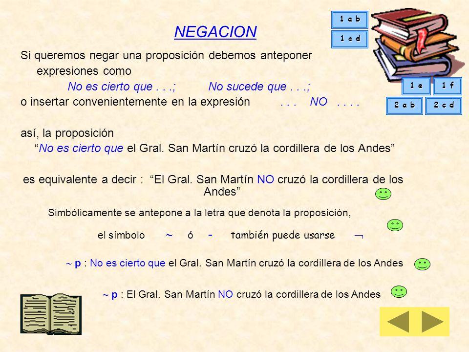 PROPOSICION es una expresión de la cual se puede decir que es verdadera o que es falsa El Gral. San Martín cruzó la cordillera de los Andes es una pro