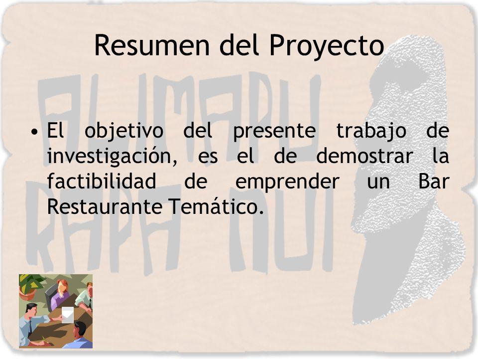 Resumen del Proyecto El objetivo del presente trabajo de investigación, es el de demostrar la factibilidad de emprender un Bar Restaurante Temático.