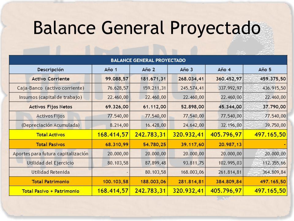 Balance General Proyectado BALANCE GENERAL PROYECTADO DescripciónAño 1Año 2Año 3Año 4Año 5 Activo Corriente99.088,57181.671,31268.034,41360.452,97459.