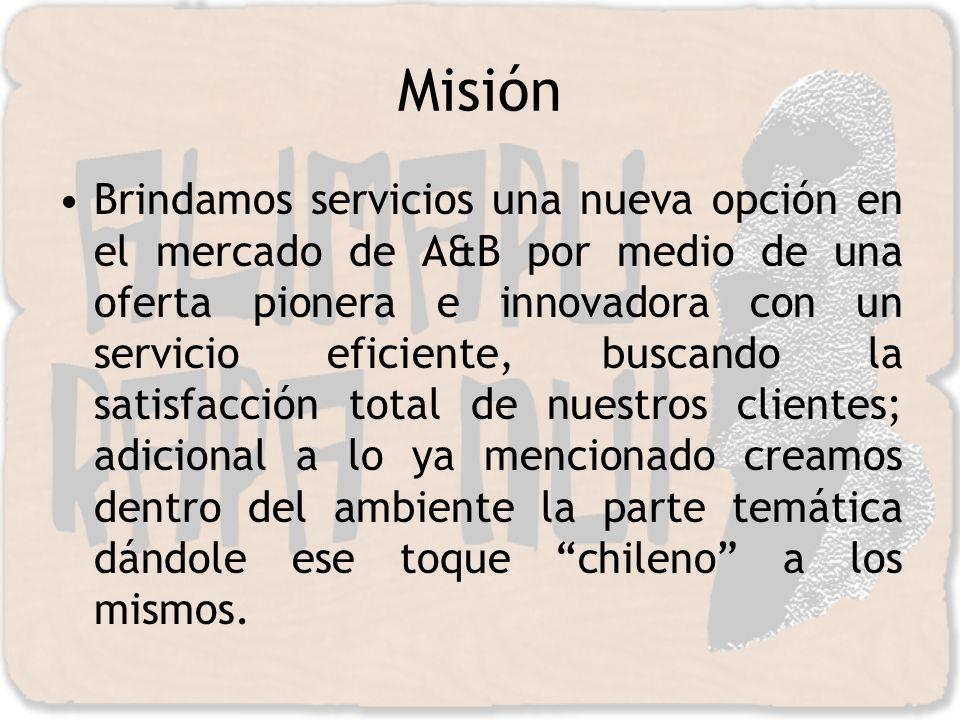 Misión Brindamos servicios una nueva opción en el mercado de A&B por medio de una oferta pionera e innovadora con un servicio eficiente, buscando la s