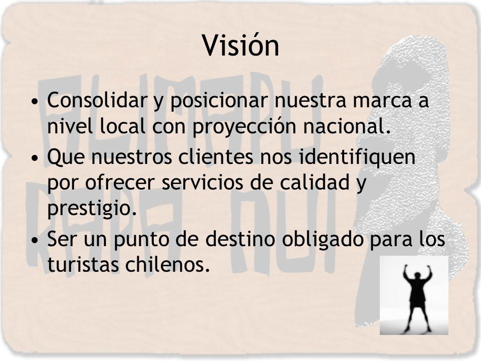 Visión Consolidar y posicionar nuestra marca a nivel local con proyección nacional. Que nuestros clientes nos identifiquen por ofrecer servicios de ca