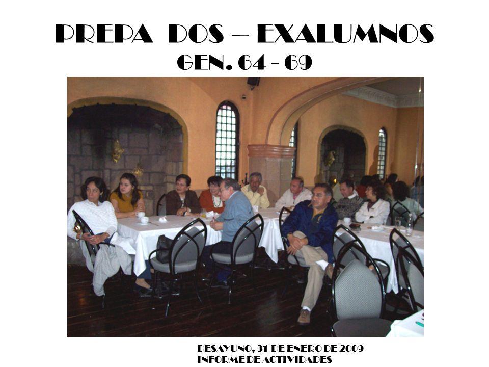 PREPA DOS – EXALUMNOS GEN. 64 - 69 DESAYUNO, 31 DE ENERO DE 2009 INFORME DE ACTIVIDADES