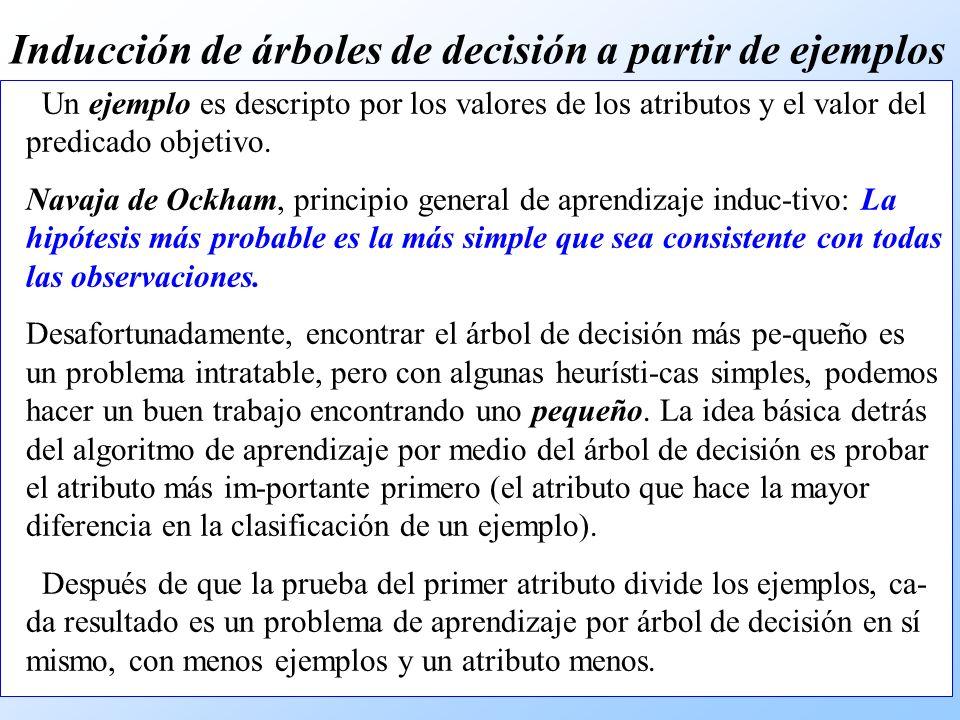 Un ejemplo es descripto por los valores de los atributos y el valor del predicado objetivo.