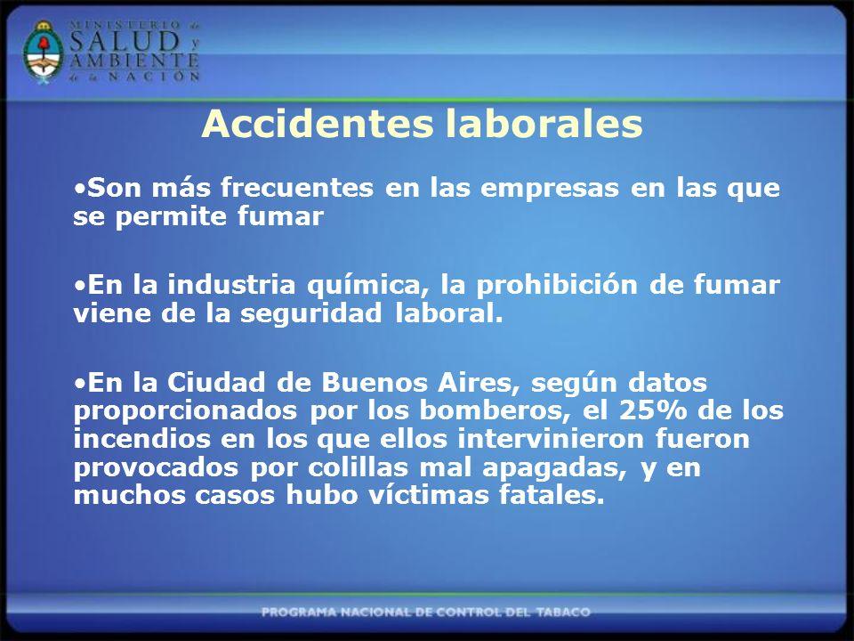 Son más frecuentes en las empresas en las que se permite fumar En la industria química, la prohibición de fumar viene de la seguridad laboral.
