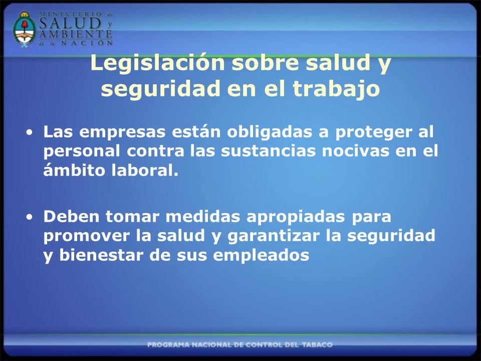 Legislación sobre salud y seguridad en el trabajo Las empresas están obligadas a proteger al personal contra las sustancias nocivas en el ámbito laboral.
