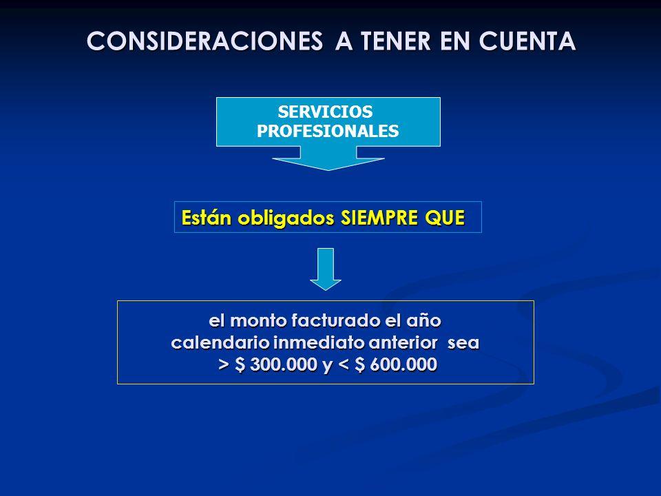 CONSIDERACIONES A TENER EN CUENTA el monto facturado el año calendario inmediato anterior sea > $ 300.000 y $ 300.000 y < $ 600.000 Están obligados SI