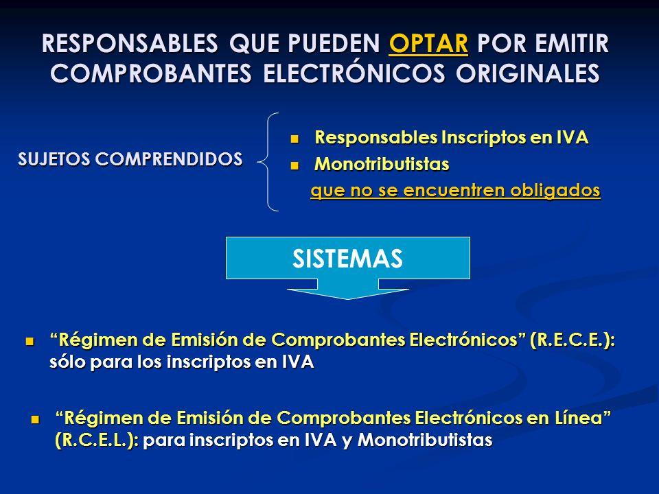 RESPONSABLES QUE PUEDEN OPTAR POR EMITIR COMPROBANTES ELECTRÓNICOS ORIGINALES SUJETOS COMPRENDIDOS Responsables Inscriptos en IVA Responsables Inscrip
