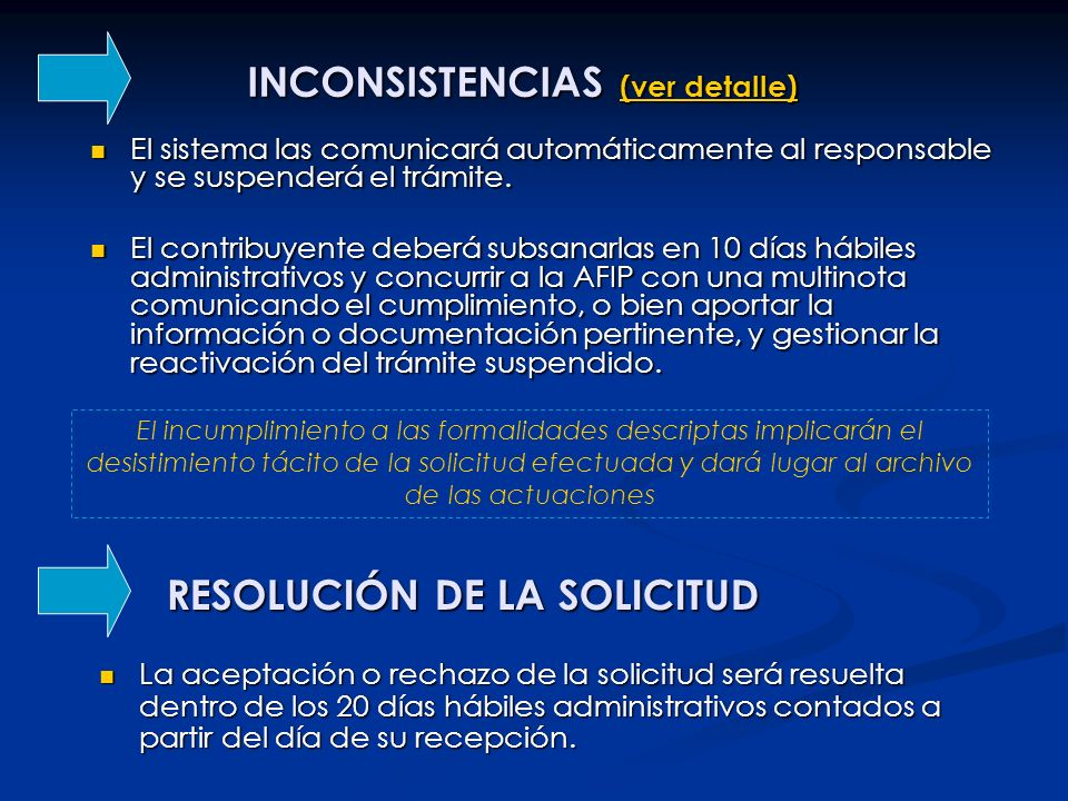 INCONSISTENCIAS (ver detalle) (ver detalle) (ver detalle) El sistema las comunicará automáticamente al responsable y se suspenderá el trámite. El sist