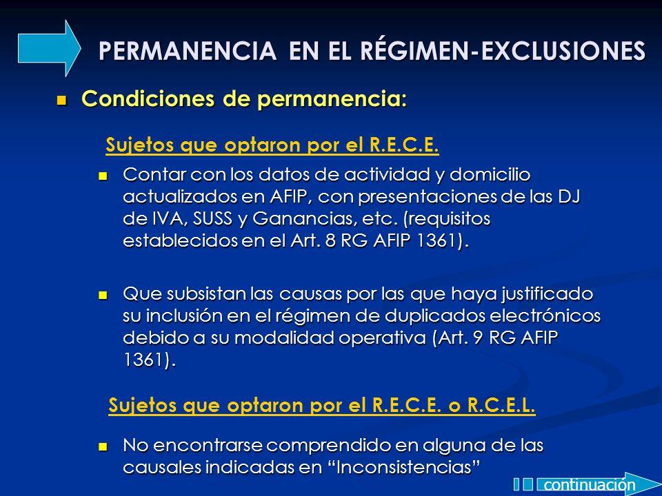 PERMANENCIA EN EL RÉGIMEN-EXCLUSIONES Condiciones de permanencia: Condiciones de permanencia: Contar con los datos de actividad y domicilio actualizad