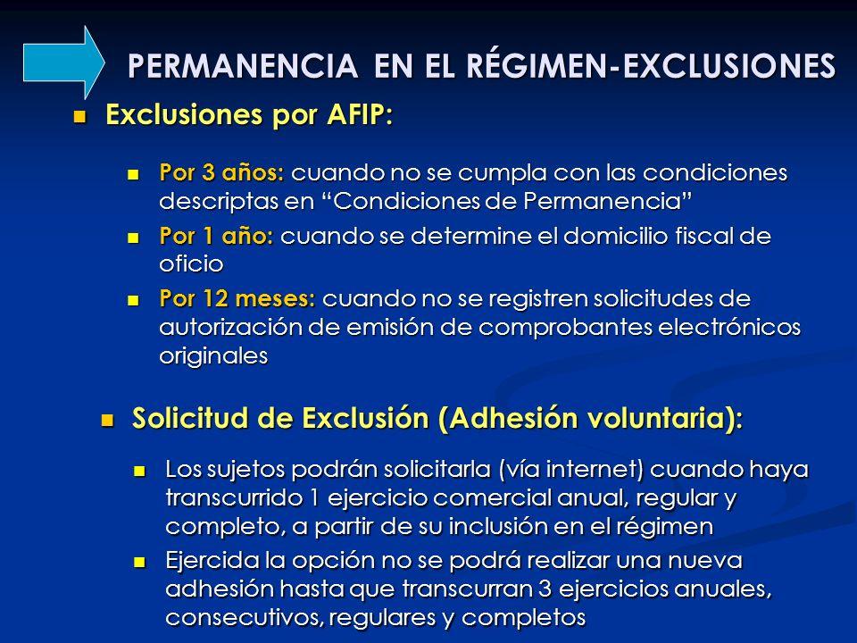 PERMANENCIA EN EL RÉGIMEN-EXCLUSIONES Exclusiones por AFIP: Exclusiones por AFIP: Por 3 años: cuando no se cumpla con las condiciones descriptas en Co