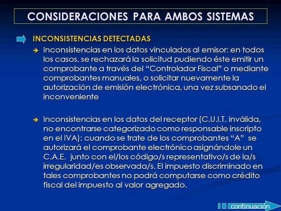 CONSIDERACIONES PARA AMBOS SISTEMAS continuación INCONSISTENCIAS DETECTADAS Inconsistencias en los datos vinculados al emisor: en todos los casos, se