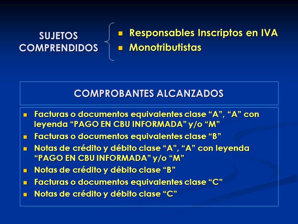 SUJETOS COMPRENDIDOS Responsables Inscriptos en IVA Responsables Inscriptos en IVA Monotributistas Monotributistas Facturas o documentos equivalentes