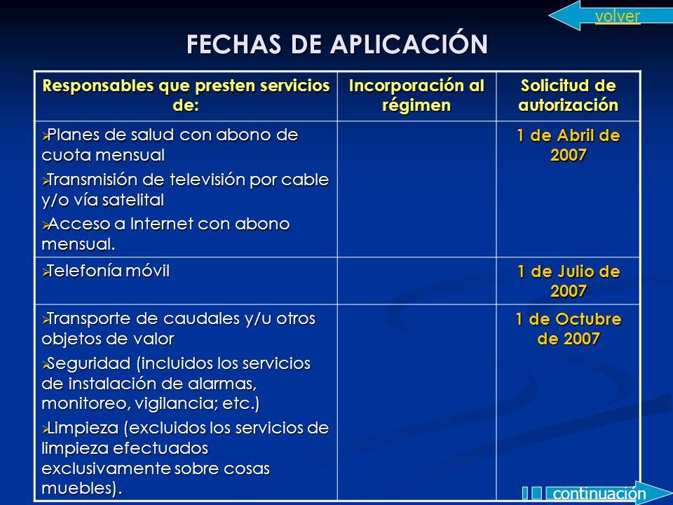 FECHAS DE APLICACIÓN Responsables que presten servicios de: Incorporación al régimen Solicitud de autorización Planes de salud con abono de cuota mens