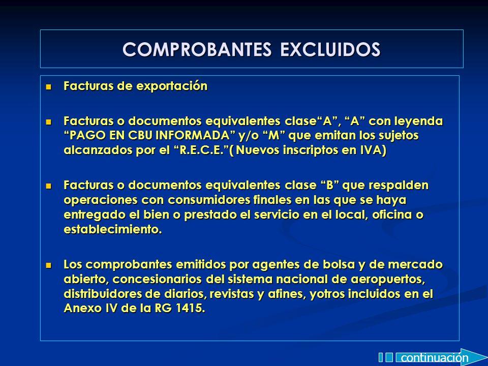 Facturas de exportación Facturas de exportación Facturas o documentos equivalentes claseA, A con leyenda PAGO EN CBU INFORMADA y/o M que emitan los su