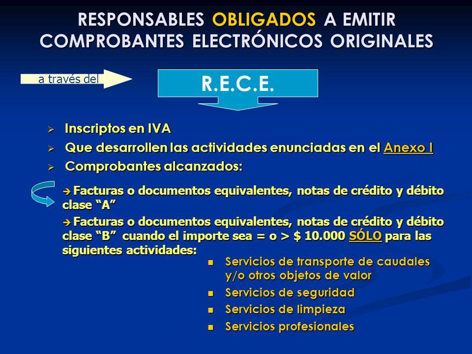 RESPONSABLES OBLIGADOS A EMITIR COMPROBANTES ELECTRÓNICOS ORIGINALES Inscriptos en IVA Inscriptos en IVA Que desarrollen las actividades enunciadas en