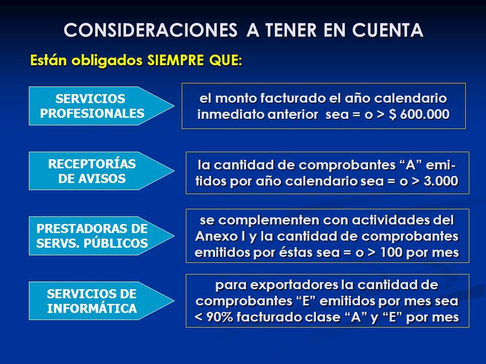 CONSIDERACIONES A TENER EN CUENTA SERVICIOS PROFESIONALES el monto facturado el año calendario inmediato anterior sea = o > $ 600.000 RECEPTORÍAS DE A