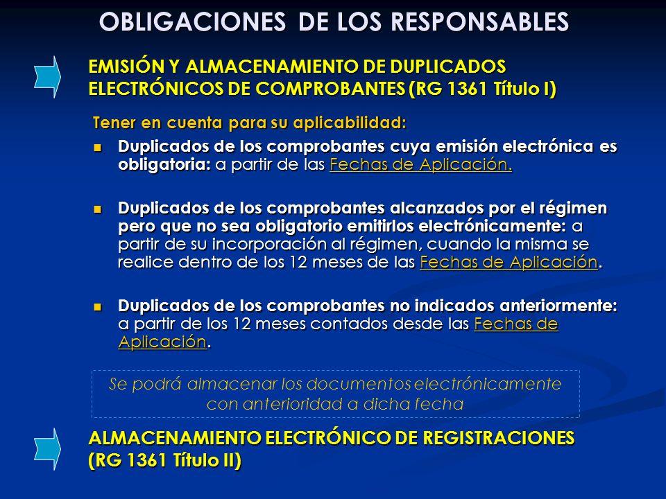 EMISIÓN Y ALMACENAMIENTO DE DUPLICADOS ELECTRÓNICOS DE COMPROBANTES (RG 1361 Título I) OBLIGACIONES DE LOS RESPONSABLES ALMACENAMIENTO ELECTRÓNICO DE
