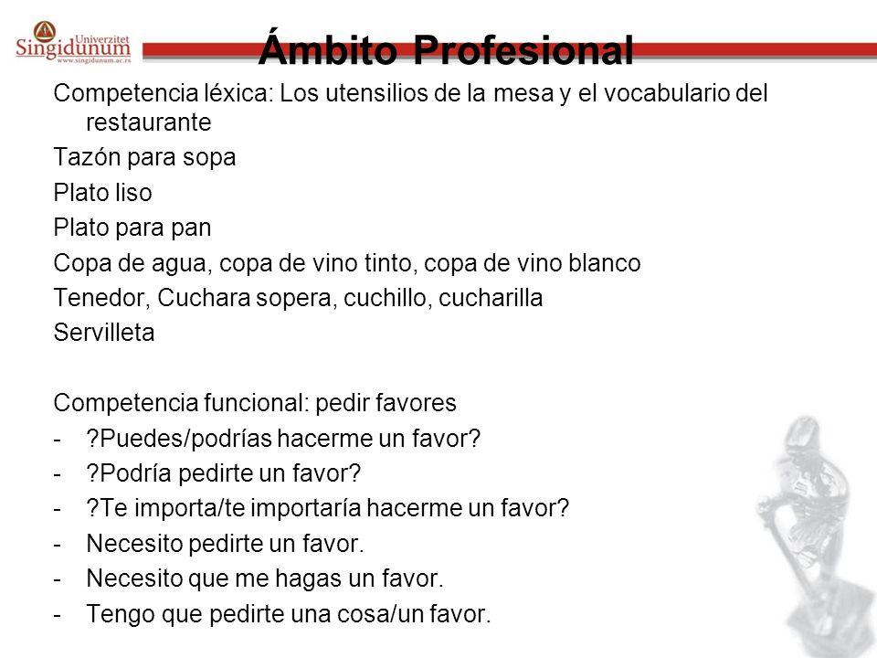 Ámbito Profesional Competencia léxica: Los utensilios de la mesa y el vocabulario del restaurante Tazón para sopa Plato liso Plato para pan Copa de ag