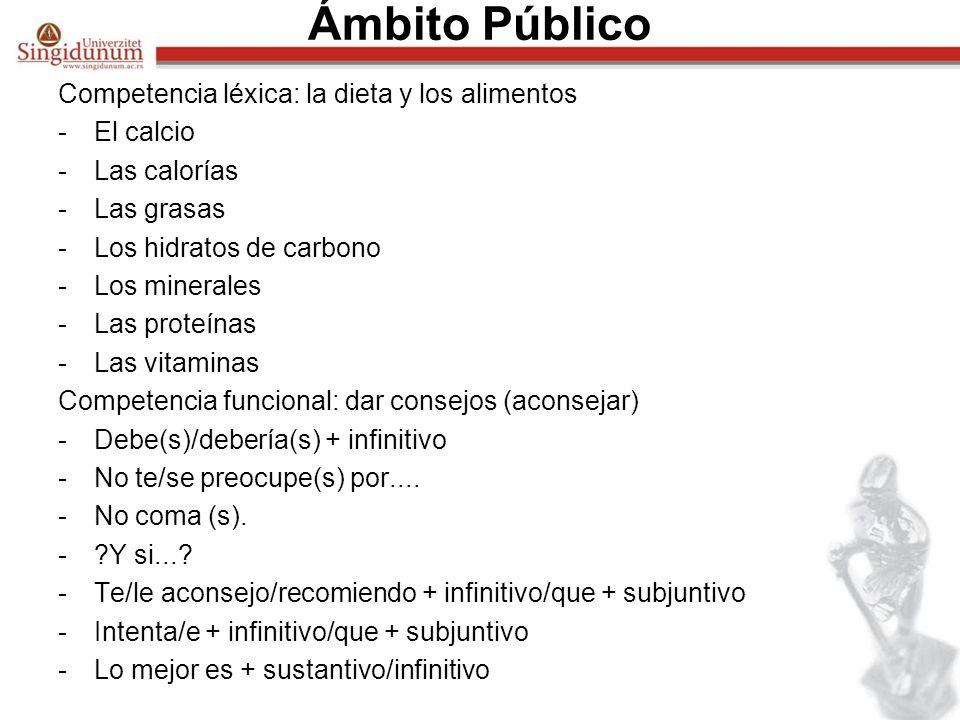 Ámbito Público Competencia léxica: la dieta y los alimentos -El calcio -Las calorías -Las grasas -Los hidratos de carbono -Los minerales -Las proteína