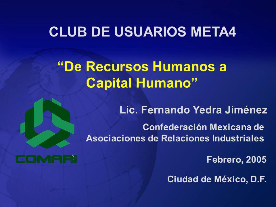 De Recursos Humanos a Capital Humano Lic. Fernando Yedra Jiménez Ciudad de México, D.F. Febrero, 2005 CLUB DE USUARIOS META4 Confederación Mexicana de