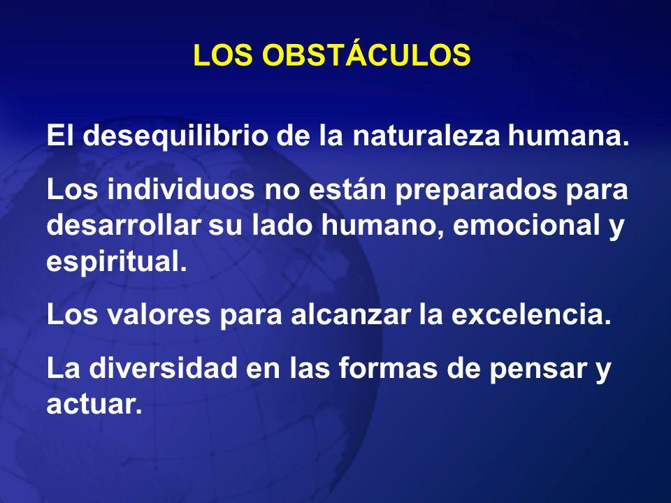LOS OBSTÁCULOS El desequilibrio de la naturaleza humana. Los individuos no están preparados para desarrollar su lado humano, emocional y espiritual. L