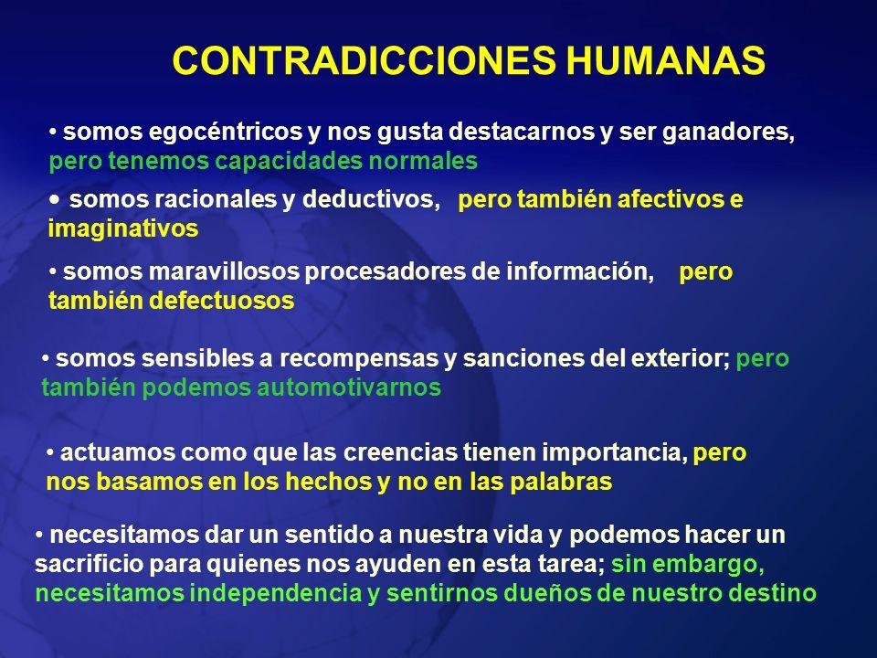 CONTRADICCIONES HUMANAS somos egocéntricos y nos gusta destacarnos y ser ganadores, pero tenemos capacidades normales somos racionales y deductivos, p